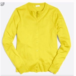 J.Crew Caryn Button-Front Cardigan Neon Yellow